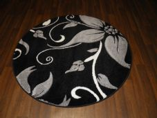 MODERN NEW 120X120CM CIRCLE RUG WOVEN BACK HAND CARVED BLACK/SILVER LILY LOVLEY